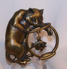 Bowl Pin Brooch-Bronze-Signed Jj Vintage Jj Kitty Cat Fish
