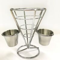 French Fries Chip Cone Holder Metal Stainless Steel Bowl Kitchen Fry Food Stand
