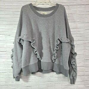 Mile(s) by Madewell Gray Ruffle Sweatshirt Size XXL