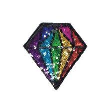 Pastel Diamond Iron On Patch Motif Patches Badge 4.2 cm x 4.5 cm Easy Fix P534