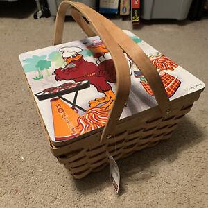 Virginia Tech Hokies VT Picnic Basket Woven Collegiate Collection Becky Denny