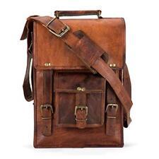 Leather Computer Bag Men's Shoulder Laptop Women Messenger Briefcase Vintage