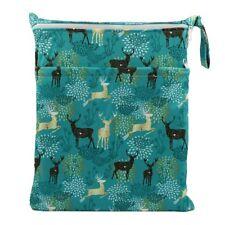 Wet Dry Bag Baby Cloth Diaper Nappy Bag Reusable 2 Zippers Pocket Regal Deer