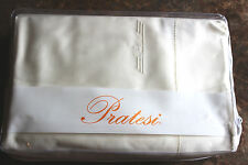 PRATESI ITALY MONOGRAM IVORY 4PC QUEEN SHEET SET EGYPTIAN COTTON 300 TC