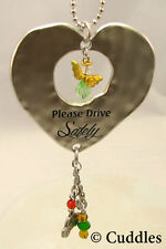 Please Drive Safely Heart Car Charm Keychain Crystal Dangle Charms Ganz NEW