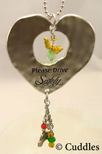 Please Drive Safely Car Charm Angel Heart  Keychain Crystal Key Chain Ganz NEW