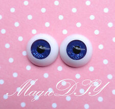 12mm Hand Made BJD Doll Eyes Shining Blue Acrylic Half Ball