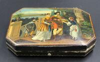 alte Lackschatulle, Dose Nähetui um 1850 Biedermeier, handbemalt
