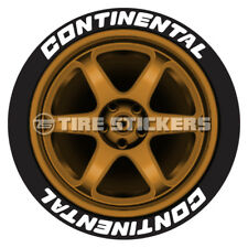 """WHITE CONTINENTAL TIRE STICKERS - 1.25"""" For 19"""" 20"""" Wheels (8 decals)"""