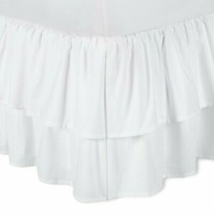SIMPLY SHABBY CHIC White Ruffle Tiered BEDSKIRT Cottage TWIN Bed NEW
