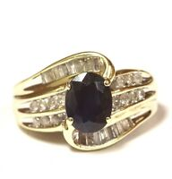 10k yellow gold .28ct SI2 H diamond sapphire womens ring 5g estate vintage