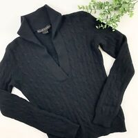Ralph Lauren Black Label 100% Cashmere Cable Knit V-Neck Collared Sweater