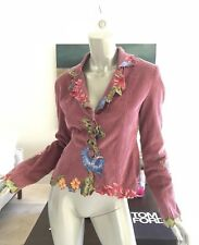 KITES BY CARLA MANUEL FLORAL EMBROIDERED DUSTY ROSE CORDUROY BLAZER JACKET