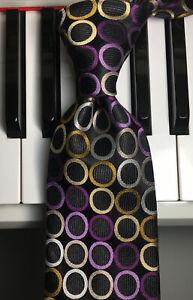 MICHAEL KORS / Purple, Gold & Silver Magic Metallic Rings Silk Tie (NWOT)
