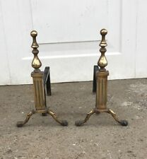 """VINTAGE BRASS FIRE DOGS ANDIRONS - HEIGHT: 14"""""""