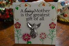 6 x 6 INCH COMMEMORATIVE GLASS BEVELED PLAQUE SAYING A LOVING MOTHER IS THE GREA