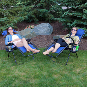 Sunnydaze Zero Gravity Lounge Lawn Chairs and Cup Holder - Set of 2 - Navy Blue