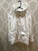 Calvin Klein Hooded White Anorak Jacket Coat Windbreaker Sz M Medium Nwt $159.50