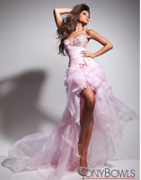 Le Gala Mon Cheri Tony Bowls Organza Beaded High Low Pink Metallic Dress NWT 2