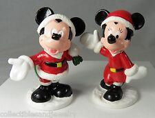 Disney Minnie & Mickey Mouse PVC Santa Claus Christmas Figurines Cake Toppers