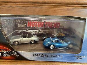 Hot Wheels Motor Trend FAO Schwarz Vintage Race Series Ferrari 365, Porsche 356