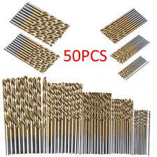 NEW 50Pc Titanium Coated HSS High Speed Steel Drill Bit Set Tool 1/1.5/2/2.5/3mm