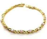 "Fine Pink CZ Gold Tennis Sterling Silver 925 Bracelet 11g 7"" NEW152"