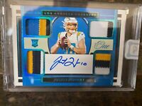 Justin Herbert /25 RPA monster! On card auto, color match quad patch. Panini One