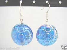 Blue glass circle patterned AB rainbow lustre glass lentil disc drop earrings