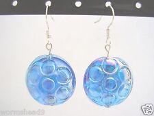 Blue glass circle patterned AB rainbow lustre glass lentil disc drop earrings