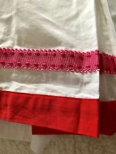 Pottery Barn Kids Harlington White Crib Bed Skirt 16� Drop Red Pink Lace Rik Rak