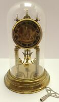 Vintage EHF Edgar Henn Germany Brass and Glass Dome 400 Day Anniversary Clock