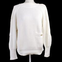 Authentic CHANEL Vintage CC Logos Long Sleeve Sweater Knit White #36 Y02161f