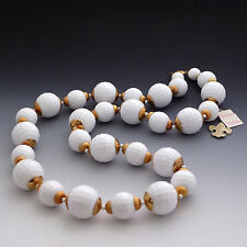 CHUNKY VINTAGE VENDOME 60'S MOD WHITE BEAD PLASTIC DISCO BALL NECKLACE NWT