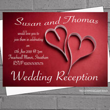 Wedding Invitations Evening Day Reception Red White Paper Hearts x 12 +env