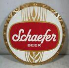 Large Vintage Schaefer Beer Bottle Cap Sign Tin Metal