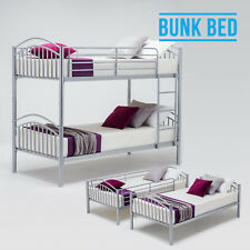3FT Single Silver Metal Bunk Bed Frame Split Into 2 Person Beds For Family