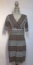 Sara Campbell Beige/Black Elbow Sleeve Stripe Dress - Size Small