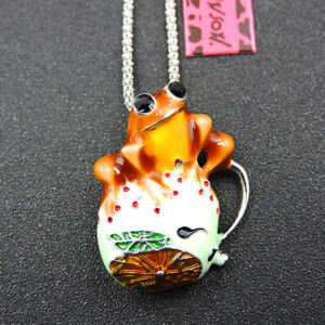 New Betsey Johnson Orange Enamel Cute Frog Animal Pendant Chain Necklace/Brooch