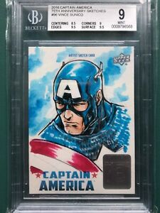 UpperDeck 2016 Captian America 75th Sketch Card Captain America Vince Sunico