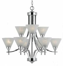 9 Light Chrome Chandelier 2 Tier Triarch 33324 With White Swirl Shades
