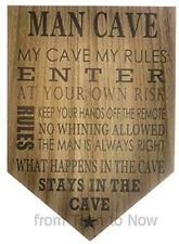 Man Cave Hanging Wooden Plaque Sign  Men's Shelter  Decor Father Husband Gift