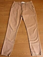 HUMOR Santiago Men's Classic Straight Fit Brown Trousers Size W32 L30