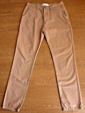 Humor Santiago Beige Clásico Calce Recto Jeans Pantalones Tamaño: 32