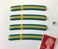 """4 X Pegatinas Llanta De Bandera De Suecia para adaptarse a 17"""" ruedas super acabado brillante abovedado"""