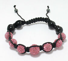 Adjustable 10mm Pink Crystal Disco Ball Macrame Hip Hop Bracelet