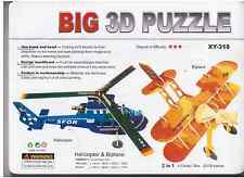 2 IN 1 HELICOPTER AND BIPLANE 3D Puzzle 4 SHEETS Education LARGE MODEL