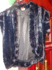 S Ladies Womens Divio Divid Collection NY Vest Bolero Black Faux Fur Open Front
