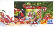 CHRISTMAS Island 2015 Christmas Mini-sheet /Souvenir sheet   on FDC.