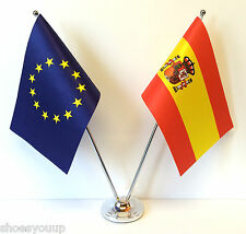 European Union EU & Spain Flags Chrome and Satin Table Desk Flag Set